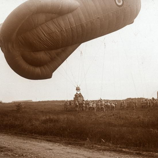 Raising of barrage balloon with basket for observation, c1914-c1918-Unknown-Photographic Print