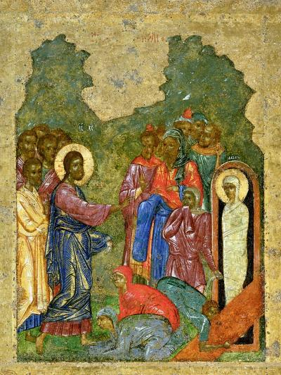 Raising of Lazarus, Russian Icon, Cathedral of St. Sophia, Novgorod School, 14th Century--Giclee Print