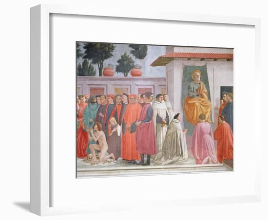 Raising of the Son of Theophilus and St Peter Enthroned-Filippino Lippi-Framed Giclee Print