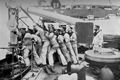 Raising the Anchor on the Forecastle of the Battleship HMS Majestic, 1896-Gregory & Co-Giclee Print