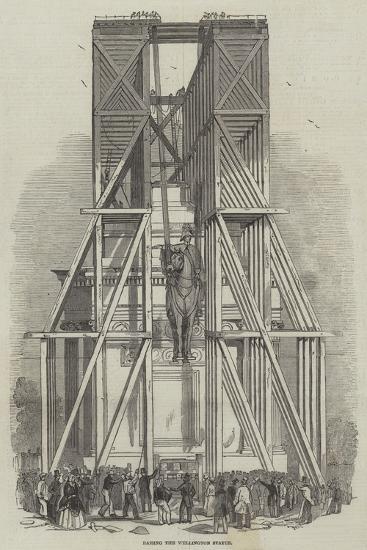 Raising the Wellington Statue--Giclee Print