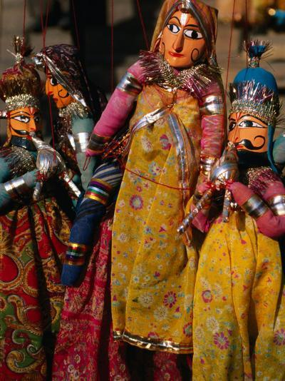 Rajasthani Puppets for Sale in Street Stall, Jaipur, India-Anders Blomqvist-Photographic Print