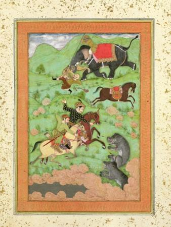 Rajput Princes Hunting Bears, Mahout and Elephant Rescue Fallen Horseman from Tiger