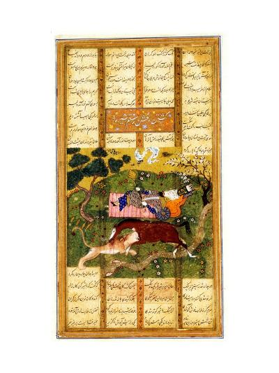 Rakhsh Kills An Attacking Lion While Rustam Sleeps. From the Shahnama (Book of Kings)--Giclee Print
