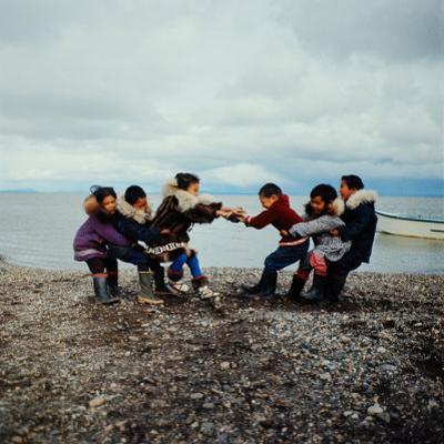 Alaska: Native Alaskan Children Playing a Game of Tug-Of-War