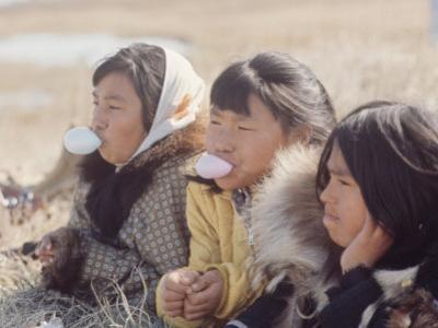 Alaska: Native Alaskan Girls Blowing Bubbles