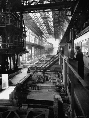 August Thyssen Steel Mill, Large Steel Works, Men Up on Platform by Ralph Crane