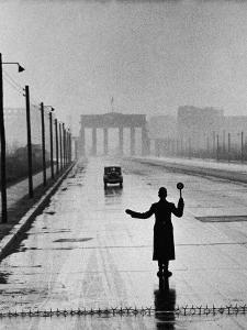 Automobile Arriving from the Eastern Sector of Berlin Being Halted by West Berlin Police by Ralph Crane