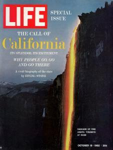 California, Embers Falling from Cliff at Yosemite at Dusk, October 19, 1962 by Ralph Crane