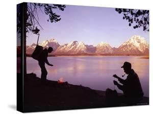 Campers at Jackson Lake in Grand Teton National Park by Ralph Crane