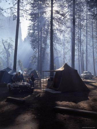 Campers Making Early Morning Breakfast at Their Site in Yosemite National Park