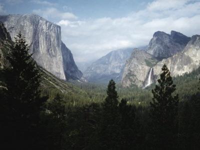 El Capitan and Bridal Veil Falls Visible in Wide Angle View of Yosemite National Park