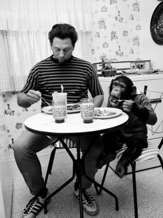 James Davis and His Pet Chimpanzee