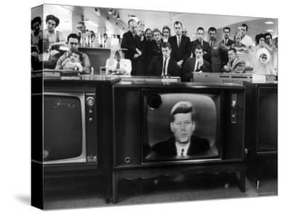 John F. Kennedy's TV Announcement of Cuban Blockade During the Missile Crisis in a Department Store