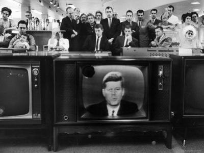 John F. Kennedy's TV Announcement of Cuban Blockade During the Missile Crisis in a Department Store by Ralph Crane