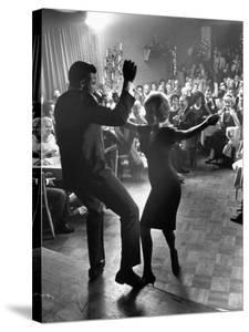 """Pop Singer Chubby Checker Singing His Hit Song """"The Twist"""" at the Crescendo Nightclub by Ralph Crane"""