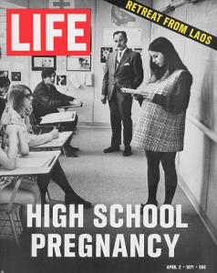 Pregnant Teenager Reading in Front of Class, April 2, 1971 by Ralph Crane