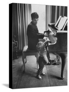 Russian Pianist Vladimir Ashkenazy and Son at Piano at Their Elegant Country Home by Ralph Crane