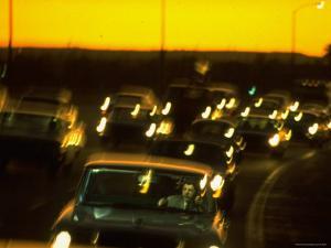 Santa Monica Freeway Traffic at Dusk by Ralph Crane