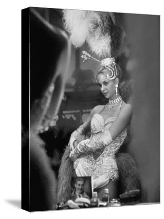 Showgirl Standing in the Dressing Room of the Stardust Hotel