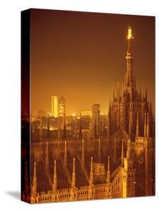 "The Duomo Topped by an Illuminated Statue of the ""Madonnina"", Milan, Italy by Ralph Crane"