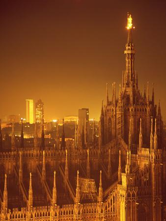 """The Duomo Topped by an Illuminated Statue of the """"Madonnina"""", Milan, Italy"""