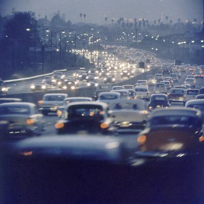 Traffic on Freeway in Los Angeles, California, 1959