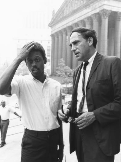 Ralph Featherstone of Sncc with Civil Rights Attorney, William Kunstler, Outside Federal Court--Photo