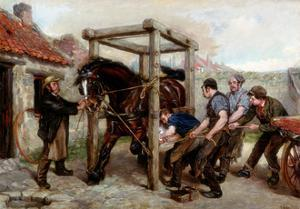 Shoeing the Bay Mare, C.1885-90 by Ralph Hedley