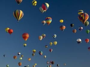 Hot Air Balloons Fly in a Hot Air Balloon Festival, Albuquerque, New Mexico, USA by Ralph Lee Hopkins