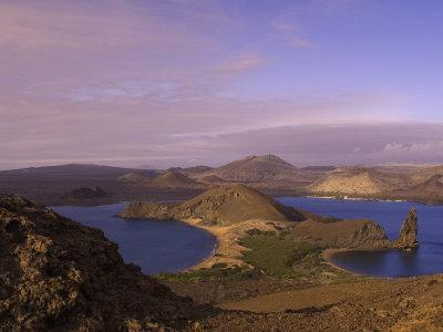 Scenic View of a Crater-Type Lake in the Galapagos Islands