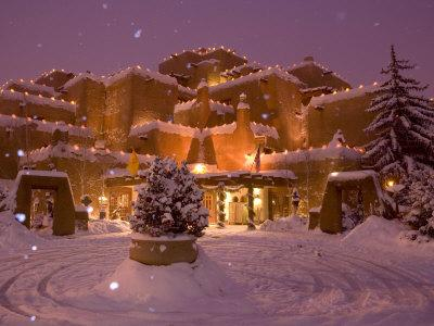 Snow Topped Inn Is Decorated for the Winter Holidays in Santa Fe