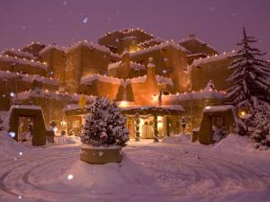 Snow Topped Inn Is Decorated for the Winter Holidays in Santa Fe by Ralph Lee Hopkins