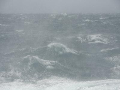 Spindrift Blows Off Waves in Gale Force Winds