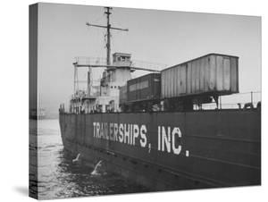 A Trailership Transporting Trailers across the Ocean by Ralph Morse