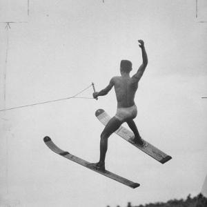 a Water Skier Performing in the National Water Skiing Championship by Ralph Morse