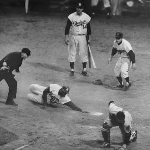 Action During a Game Between the Brooklyn Dodgers and the Milwaukee Braves at Ebbet's Field by Ralph Morse