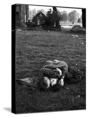 American Soldier Kissing English Girlfriend on Lawn in Hyde Park, Favorite Haunts of US Troops