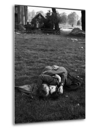American Soldier Kissing English Girlfriend on Lawn in Hyde Park, Favorite Haunts of US Troops