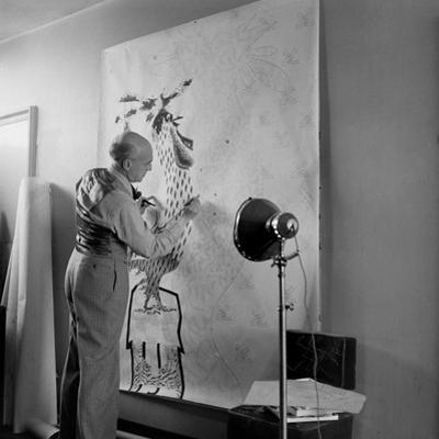 Artist Jean Lurcat Creating Tapestry. Paris, France June 1946