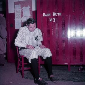 Baseball Player Babe Ruth in Uniform at Yankee Stadium by Ralph Morse