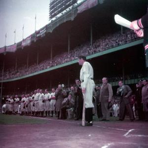 Baseball Player Babe Ruth in Uniform at Yankee Stadium by Ralph Morse