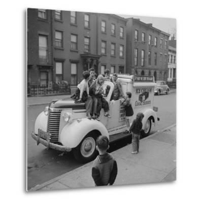 Children Sit on the Ice Cream Truck in Brooklyn