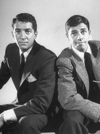 Comedian Jerry Lewis and Dean Martin Posing Side by Side