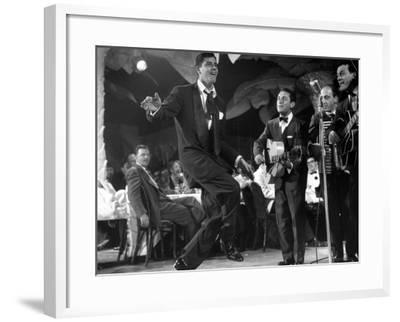 Comedian Jerry Lewis, Dancing to the Quartet's Music, at the Copacabana