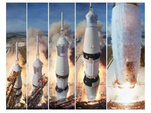 Composite 5 Frame Shot of Gantry Retracting While Saturn V Boosters Lift Off to Carry Apollo 11 by Ralph Morse