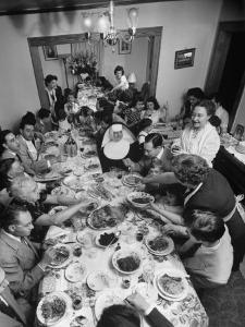 Festive Spread Through Dining Room at La Falce Family Reunion by Ralph Morse