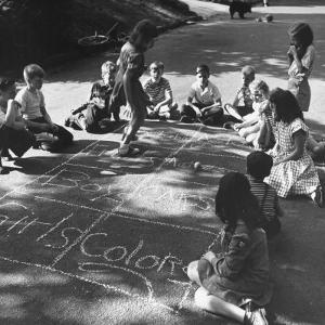Girls and Boys Playing Hopscotch by Ralph Morse