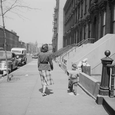 Mother and Son Walking Down Brooklyn Street Together, NY, 1949