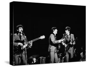 Pop Music Group the Beatles in Concert George Harrison, Paul McCartney, John Lennon by Ralph Morse